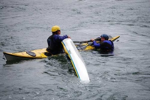 Learning to kayak in a class near Seattle.