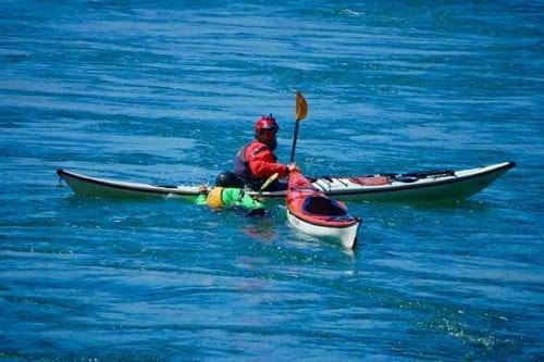 Kayak rescue instruction, Deception Pass, Washington