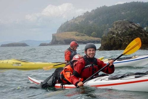 Learning to sea kayak safely, San Juan Islands, Washington