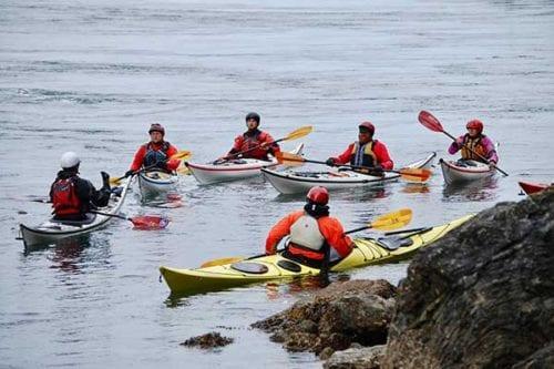learning to kayak in the San Juan Islands, near Seattle